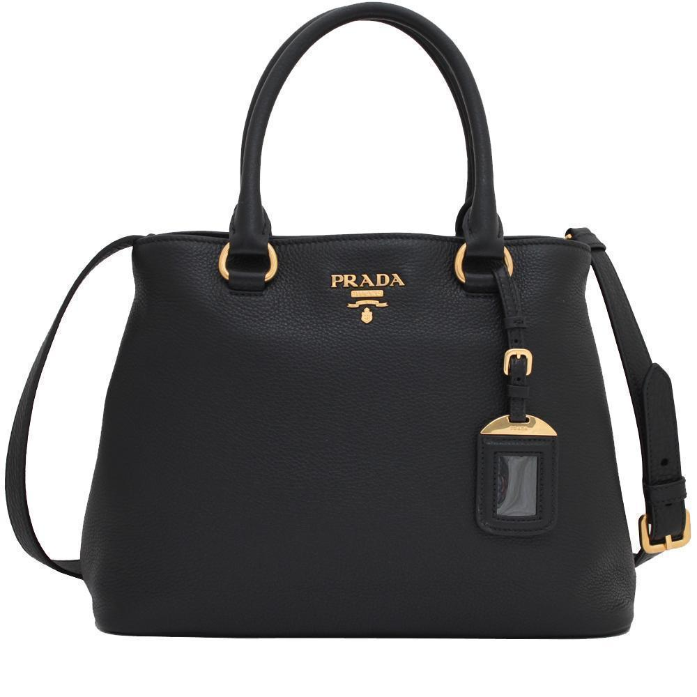 Prada Women's Black Vitello Phenix Leather Adjustable Handbag Tote 1BA058 at_Queen_Bee_of_Beverly_Hills