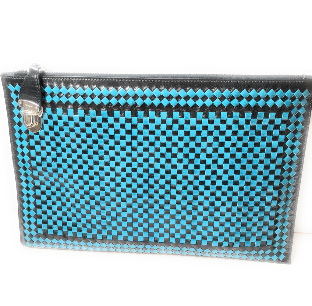 Prada Women's Blue Black Madras Woven Leather Clutch Handbag BP8681 at_Queen_Bee_of_Beverly_Hills