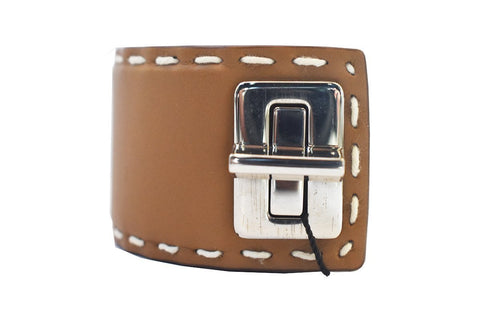Prada Women's Brown Leather Silver Hardware Luxury Bracelet at_Queen_Bee_of_Beverly_Hills