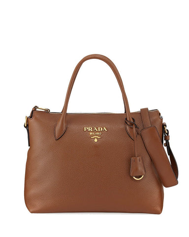 Prada Women's Brown Vitello Phenix Leather Handbag 1BA063 at_Queen_Bee_of_Beverly_Hills