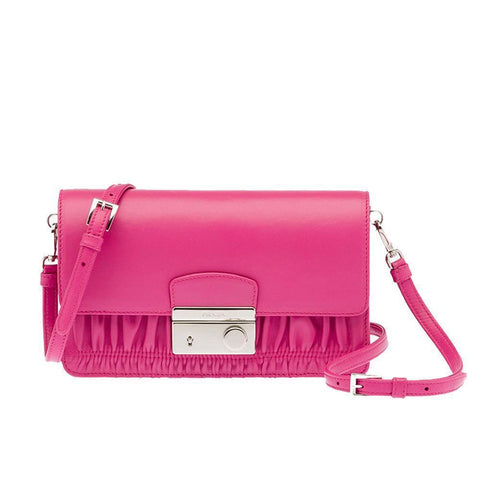 Prada Women's Classic Pink Nappa Leather Gaufre Crossbody Handbag BT1034 at_Queen_Bee_of_Beverly_Hills