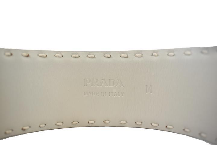 Prada Women's Classic White Leather Luxury Bracelet Silver Hardware at_Queen_Bee_of_Beverly_Hills