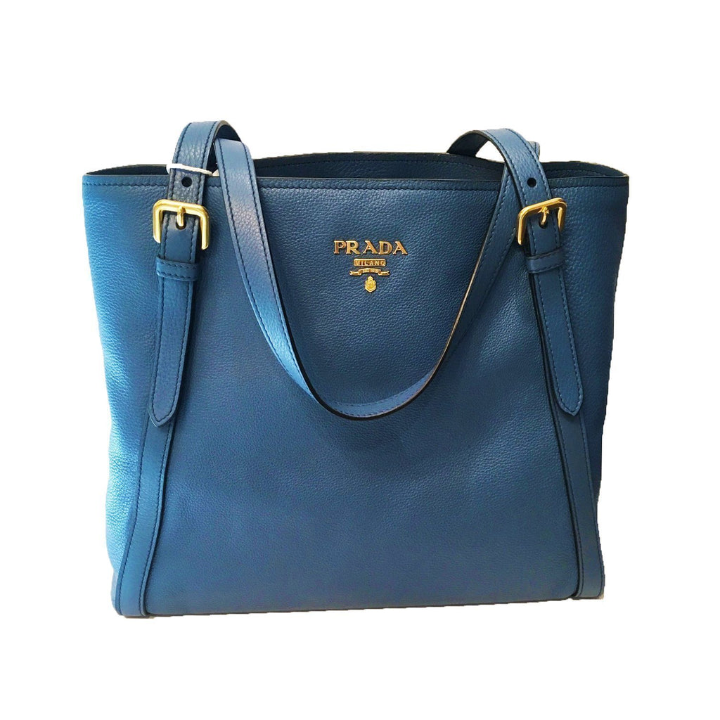 Prada Women's Cobalt Blue Leather Vitello Phenix Shopping Tote Large1BG064 at_Queen_Bee_of_Beverly_Hills