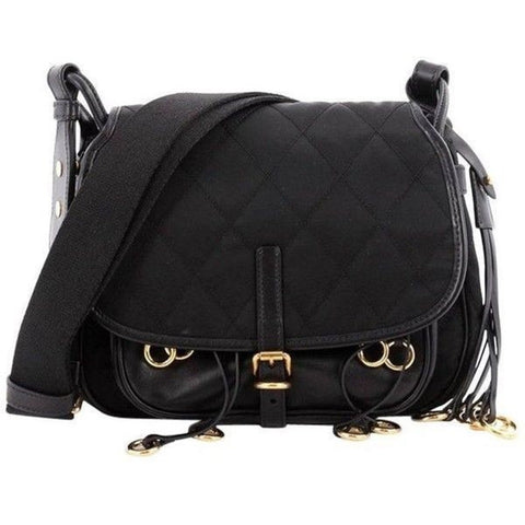 Prada Women's Corsaire Quilted Nylon Fabric & Leather Bag Black Cross Body 1BD050 at_Queen_Bee_of_Beverly_Hills