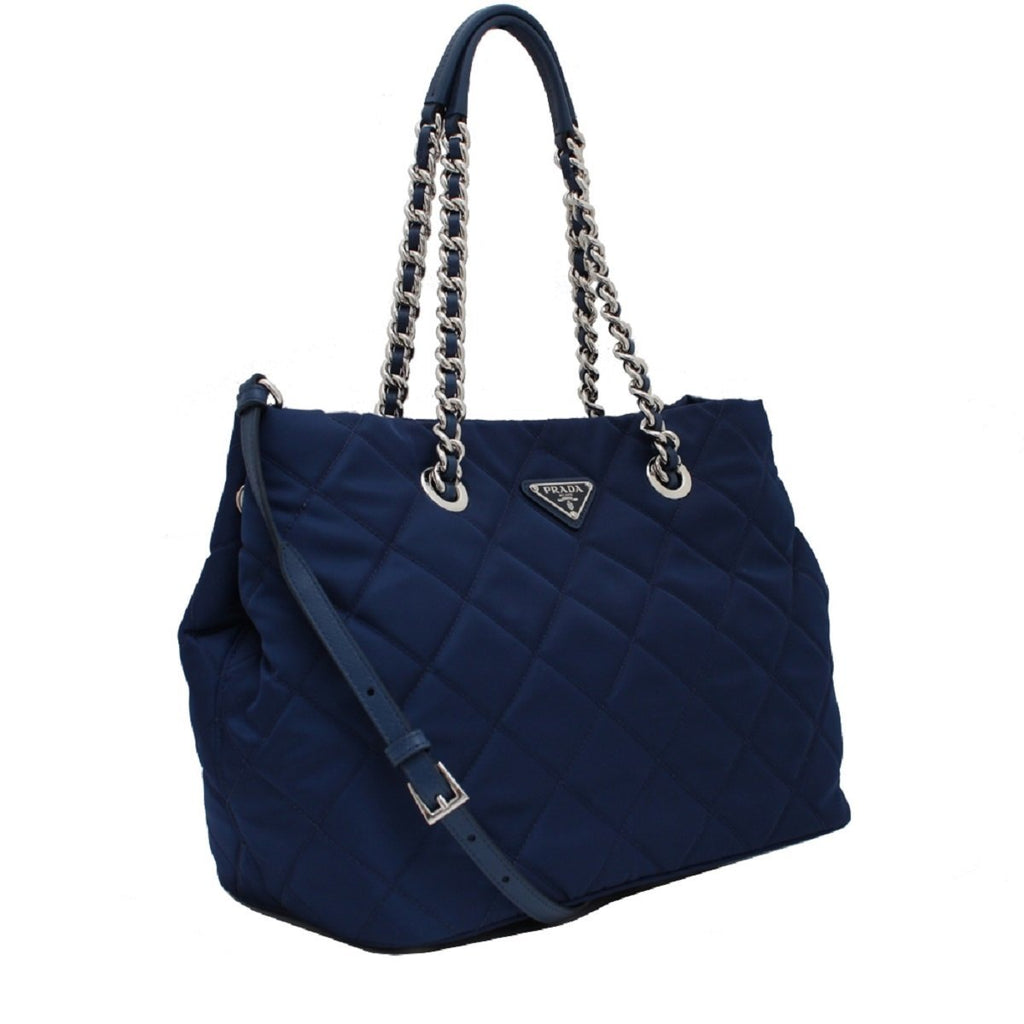 Prada Women's Dark Blue Quilted Tessuto Chain Strap Shoulder Bag Tote 1BG740 at_Queen_Bee_of_Beverly_Hills