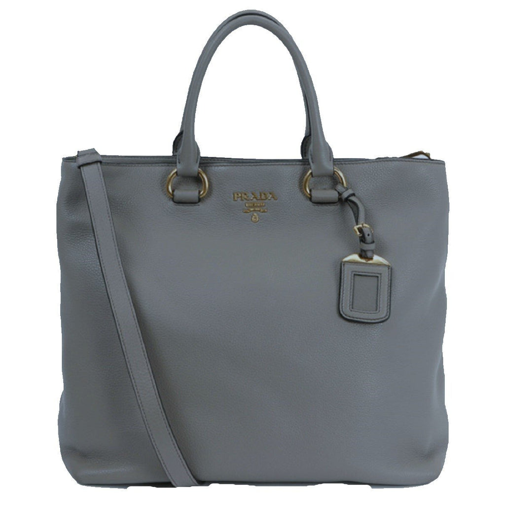 Prada Women's Dark Gray Vitello Phenix Shopping Tote Top Handle Bag Shoulder Bag 1BG865 at_Queen_Bee_of_Beverly_Hills