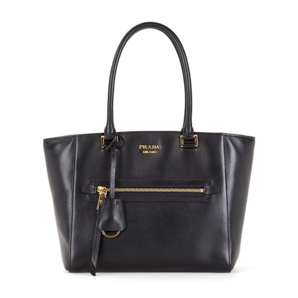 Prada Women's Glace Calf Twin Pocket Tote Black Leather Shopping Bag 1BG227 at_Queen_Bee_of_Beverly_Hills