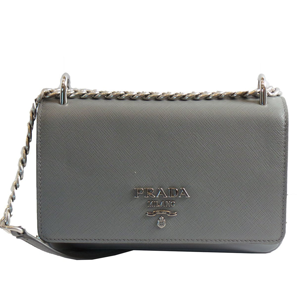 Prada Women's Gray Saffiano Crossbody Soft Calf Leather Shoulder Bag 1BD144 at_Queen_Bee_of_Beverly_Hills