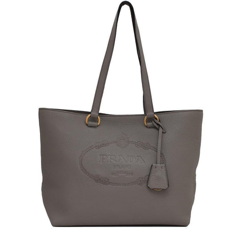 Prada Women's Gray Vitello Daino Calfskin Leather Shopping Tote Handbag 1BG100 at_Queen_Bee_of_Beverly_Hills