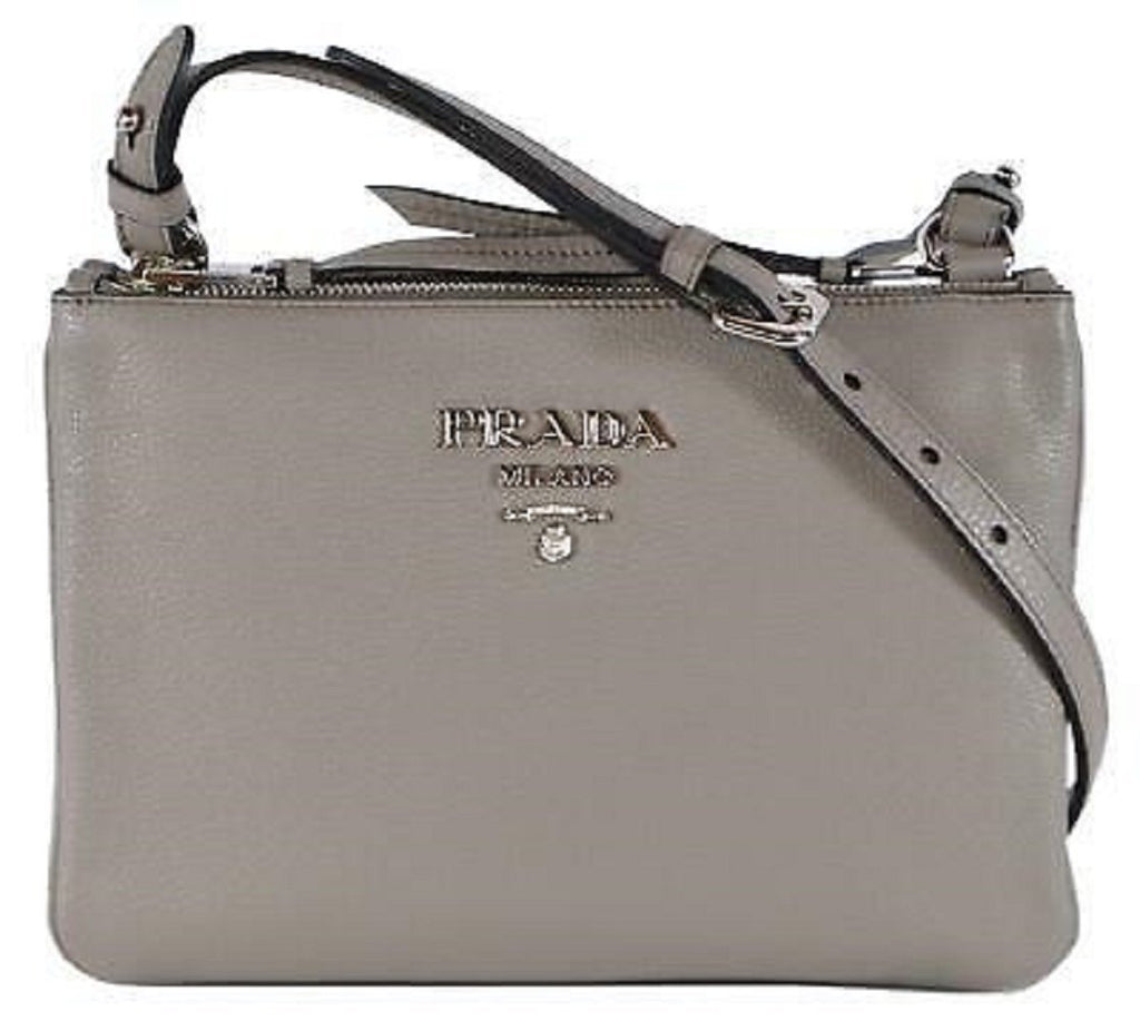Prada Women's Gray Vitello Phenix Crossbody Handbag 1BH046 at_Queen_Bee_of_Beverly_Hills