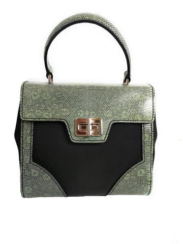 Prada Women's Green Tessuto Lucerto Nylon/Reptile Leather Handbag 1BA014 at_Queen_Bee_of_Beverly_Hills