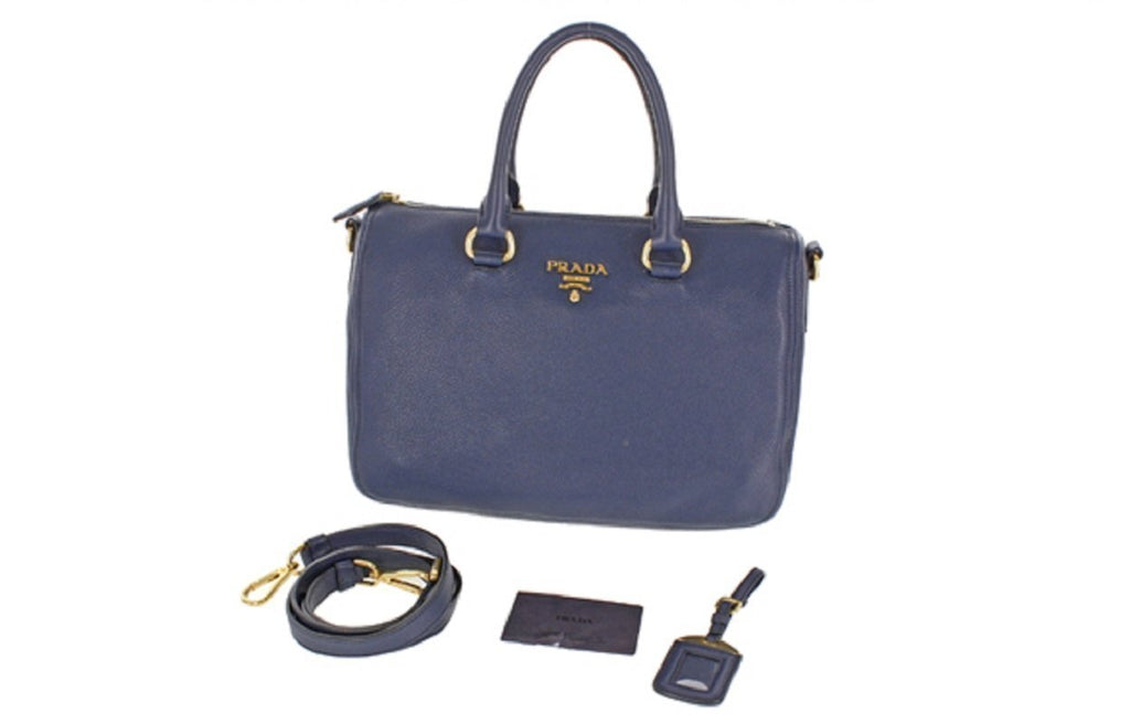 Prada Women's Leather Bauletto Navy Baltico Vitello Phenix Handbag 1BB023 at_Queen_Bee_of_Beverly_Hills