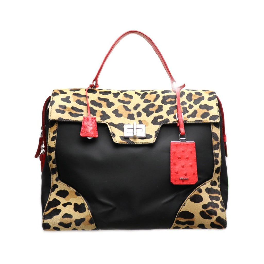 Prada Women's Leopard Red Cavallino Large Shopping Tote Handbag 1BA004 at_Queen_Bee_of_Beverly_Hills