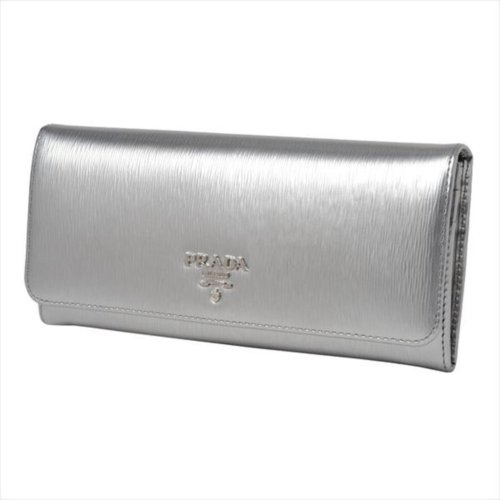 Prada Women's Metallic Cromo Silver Vitello Move Long Leather Flap Wallet 1MH132 at_Queen_Bee_of_Beverly_Hills