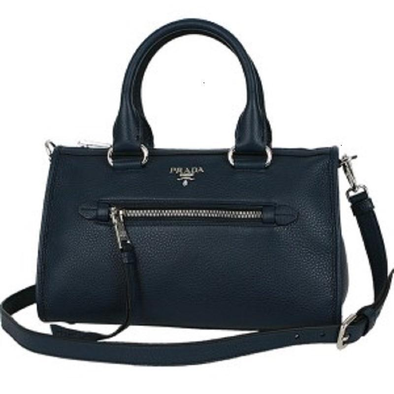 Prada Women's Navy Blue Baltico Bauletto Vitello Phenix Leather Satchel Handbag 1BB022 at_Queen_Bee_of_Beverly_Hills
