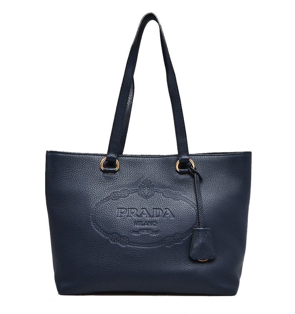 Prada Women's Navy Blue Vitello Daino Leather Shopping Tote Handbag 1BG100 at_Queen_Bee_of_Beverly_Hills