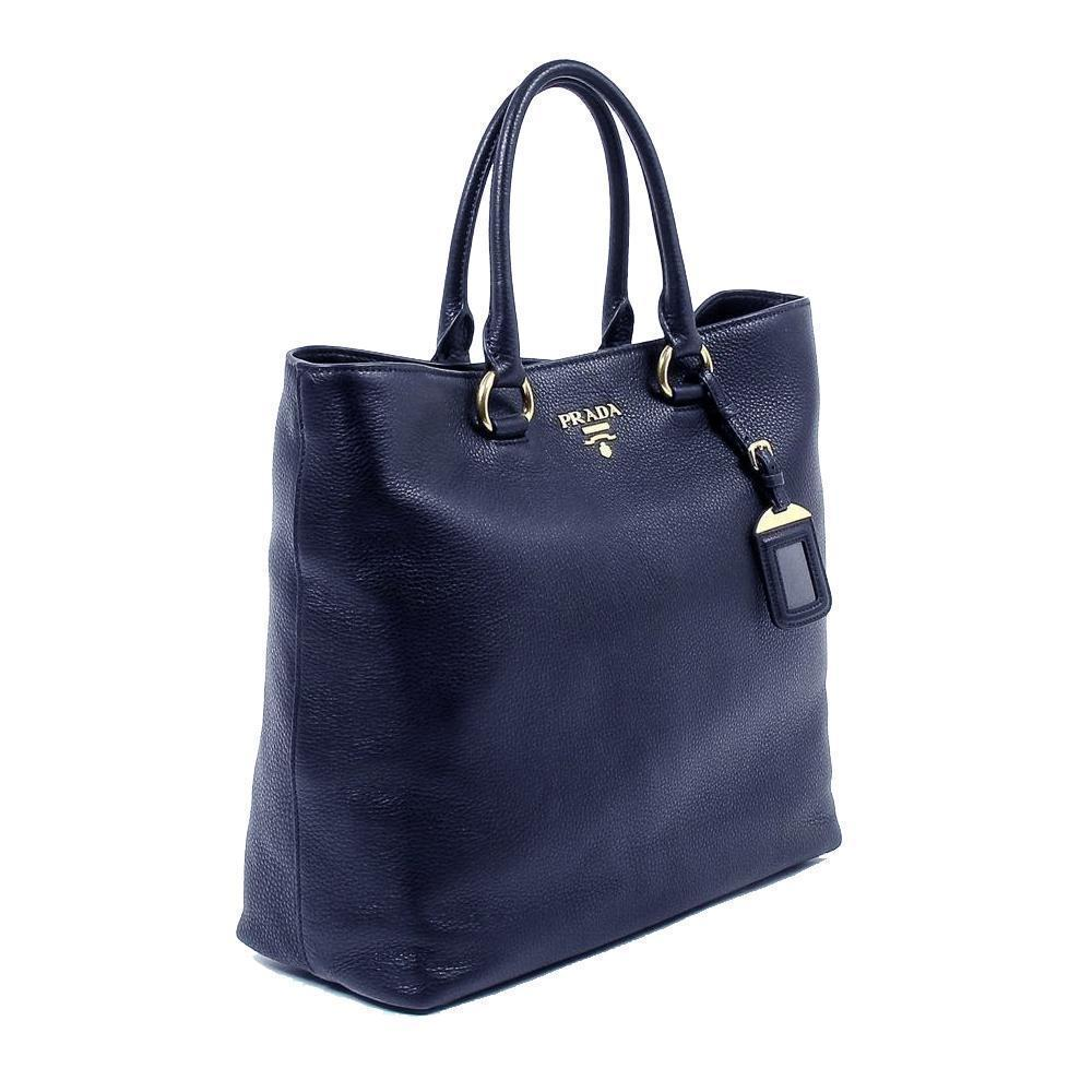 Prada Women's Navy Blue Vitello Phenix Leather Shopping Tote Handbag 1BG865 at_Queen_Bee_of_Beverly_Hills