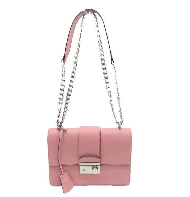 Prada Women's Petal Pink Saffiano Leather Cross Body Handbag 1BD034 at_Queen_Bee_of_Beverly_Hills