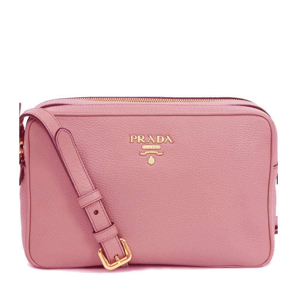 Prada Women's Pink Vitello Phenix Leather Small Crossbody Handbag 1BH079 at_Queen_Bee_of_Beverly_Hills