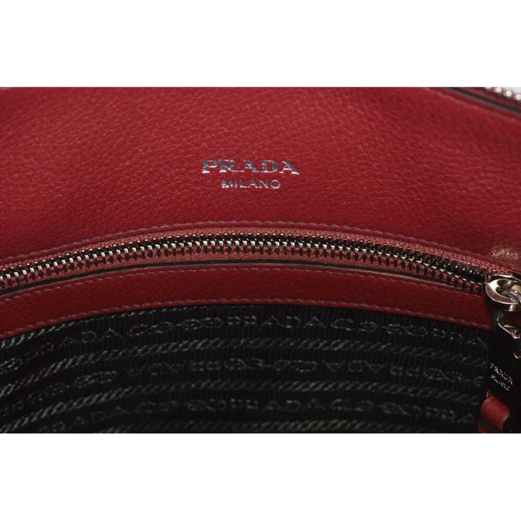 Prada Women's Rubino Red Vitello Phenix Leather Crossbody Handbag 1BA063 at_Queen_Bee_of_Beverly_Hills