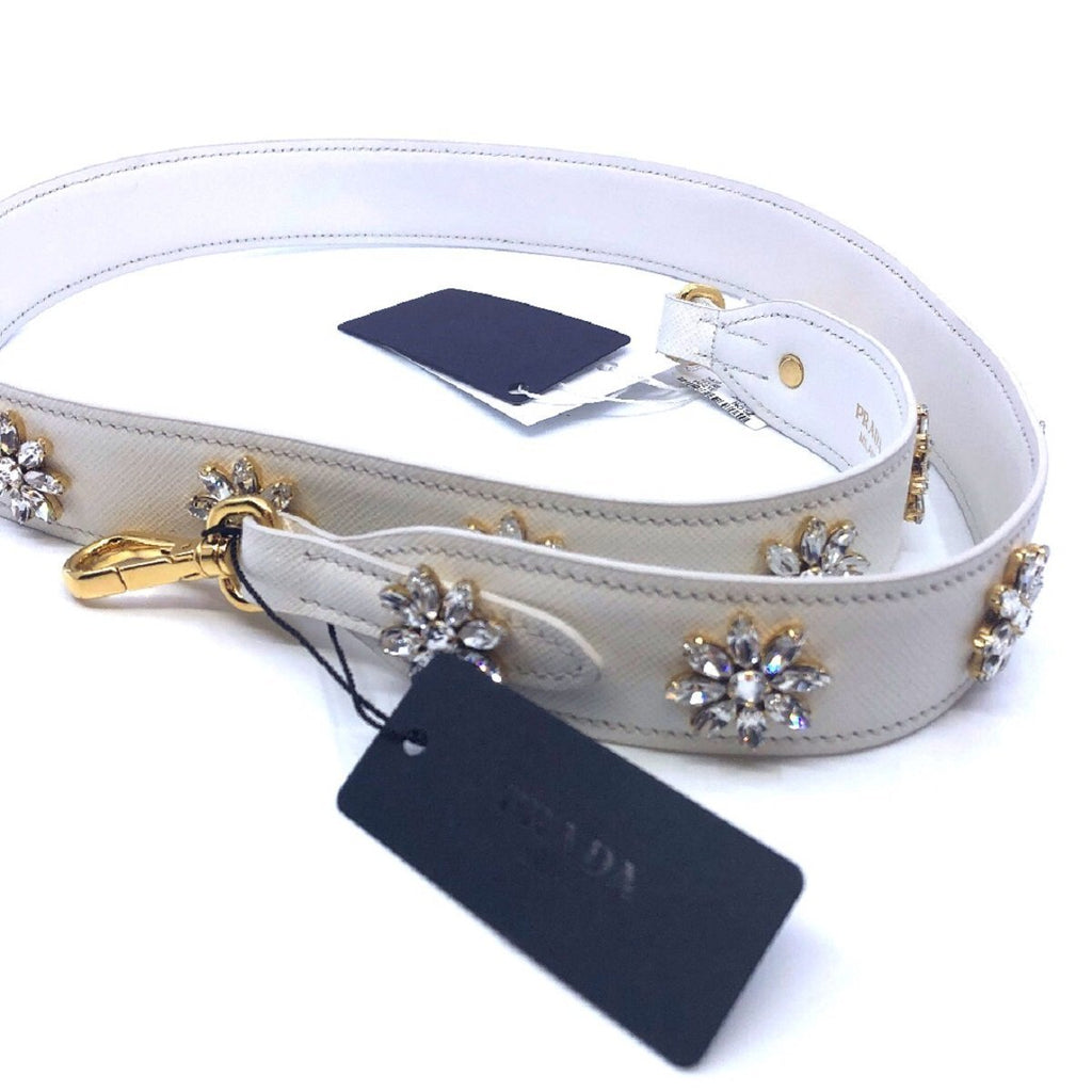 Prada Women's Saffiano Leather Crystal Flower Women's White Handbag Strap 1TY002 at_Queen_Bee_of_Beverly_Hills