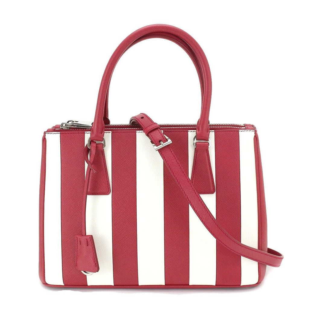 Prada Women's Saffiano Red White Handbag Red Leather Satchel 1BA862 at_Queen_Bee_of_Beverly_Hills