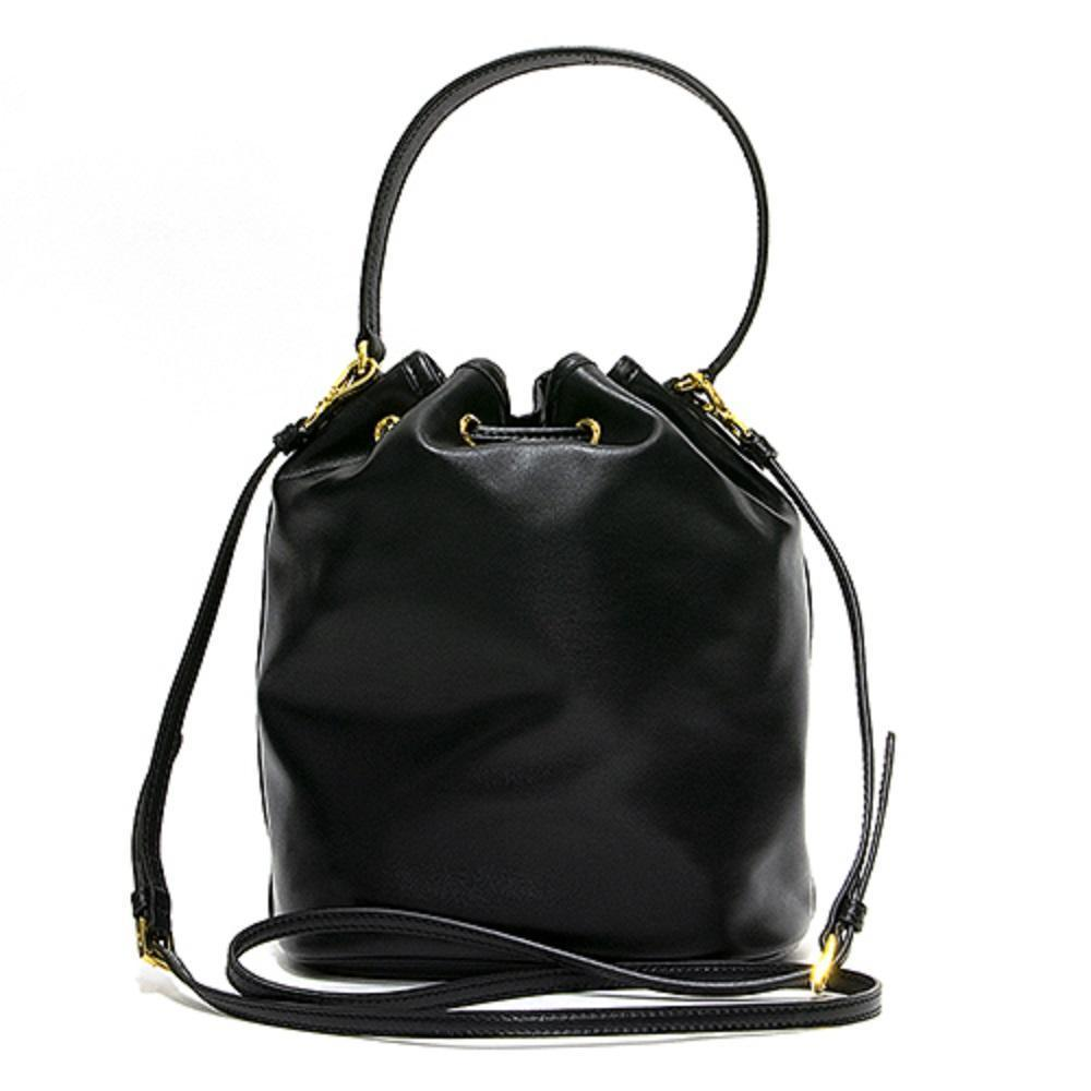 Prada Women's Sechiello Nero Black Glace Calf Leather Bucket Bag at_Queen_Bee_of_Beverly_Hills