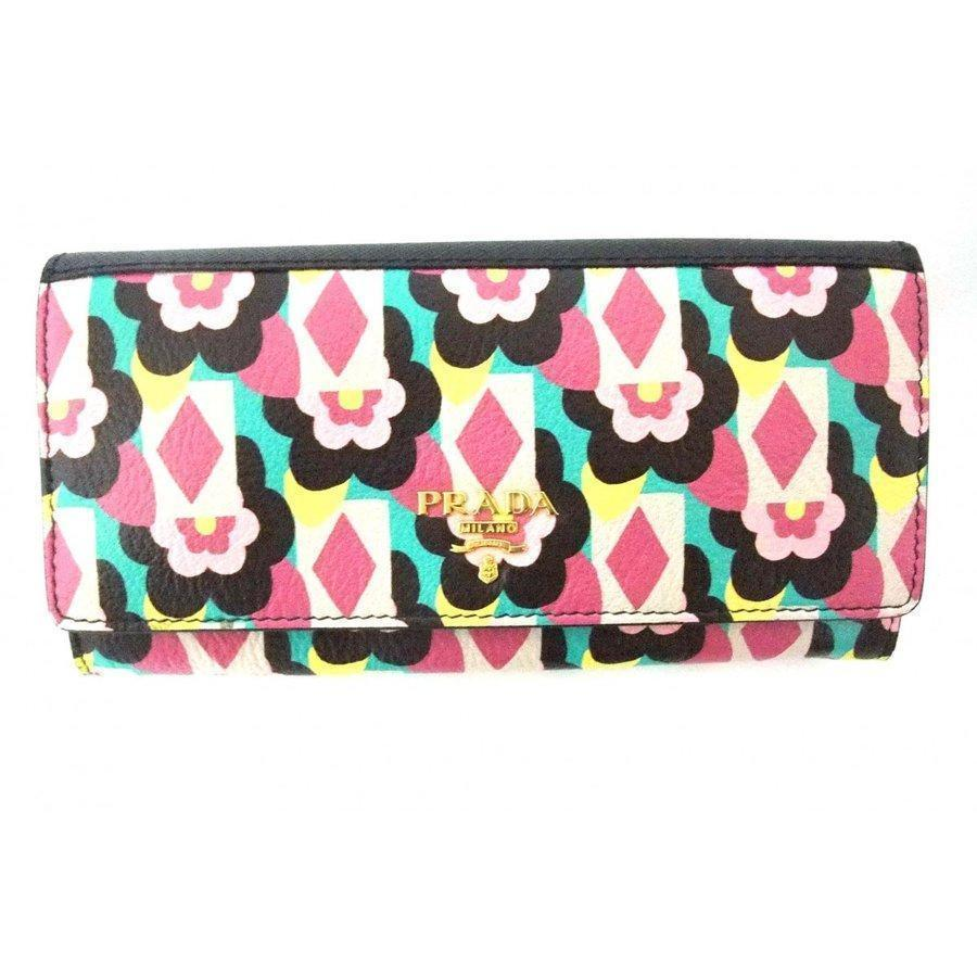Prada Women's Snap Closure Wallet with Flowers/Detachable ID Card 1MH132 at_Queen_Bee_of_Beverly_Hills