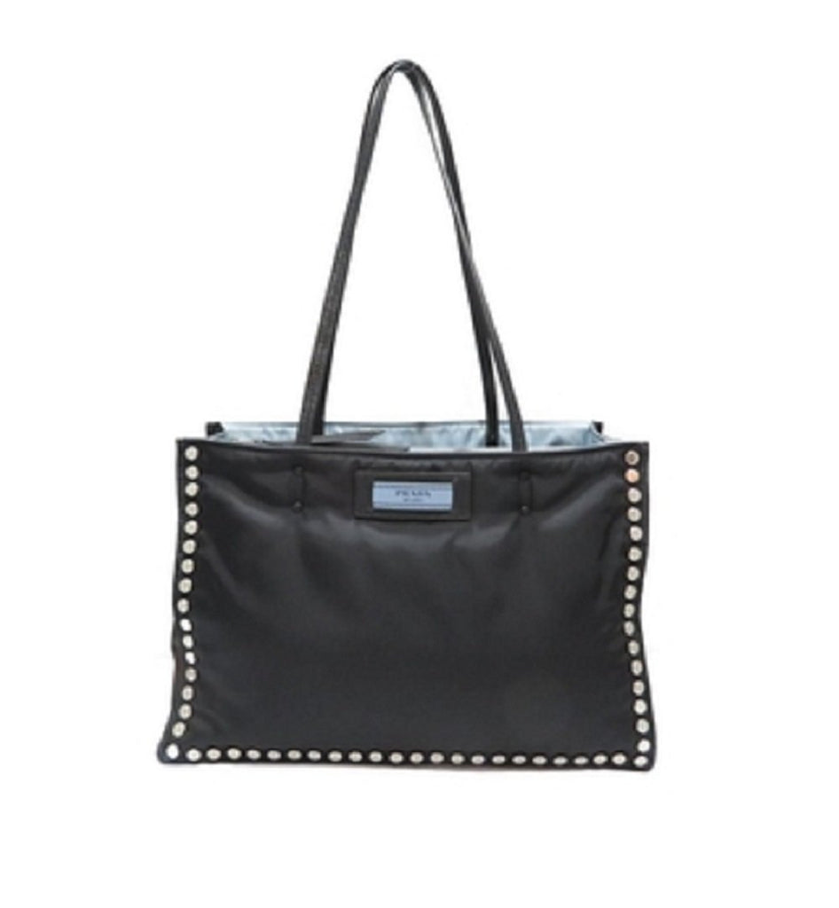 Prada Women's Tessuto Nero Astrale Black Etiquette Studded Tote Bag 1BG122 at_Queen_Bee_of_Beverly_Hills