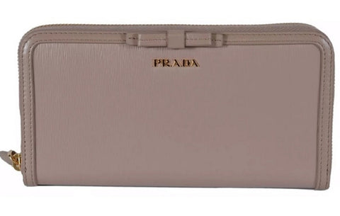 Prada Women's Vitello Move Blush Beige Bow Trim French Flap Zipper Wallet 1ML225 at_Queen_Bee_of_Beverly_Hills