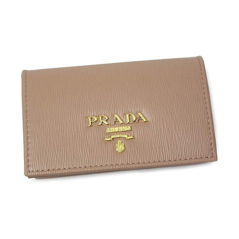Prada Women's Vitello Move Cipria Beige Leather Card Case Wallet 1MC122 at_Queen_Bee_of_Beverly_Hills