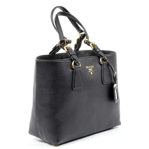 Prada Women's Vitello Phenix Black Leather Shopping Tote Handbag 1BG043 at_Queen_Bee_of_Beverly_Hills