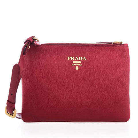 Prada Women's Vitello Red Leather Crossbody 1BH046 at_Queen_Bee_of_Beverly_Hills