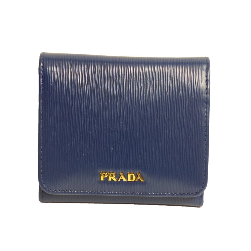 Prada Women's Wallet Vitello Move Bi Fold Blue 1MH176 at_Queen_Bee_of_Beverly_Hills