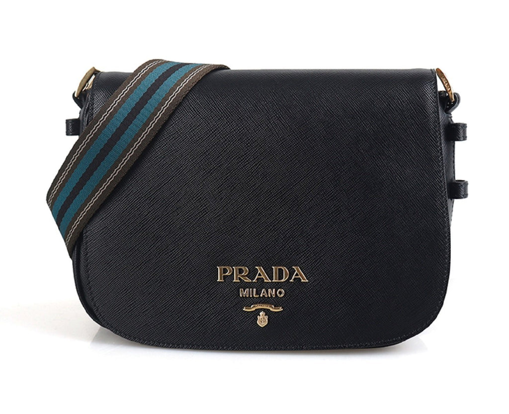 Prada Women Saffiano Leather Web Strap Cross Body Shoulder Bag Black 1BD192 at_Queen_Bee_of_Beverly_Hills