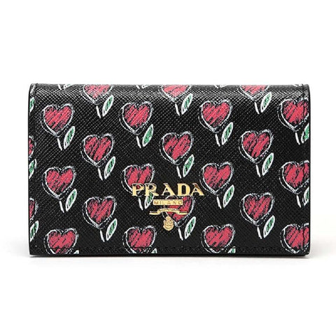Prada Womens Black Love Hearts Vitello Move Leather Credit Card Holder 1MC122 at_Queen_Bee_of_Beverly_Hills