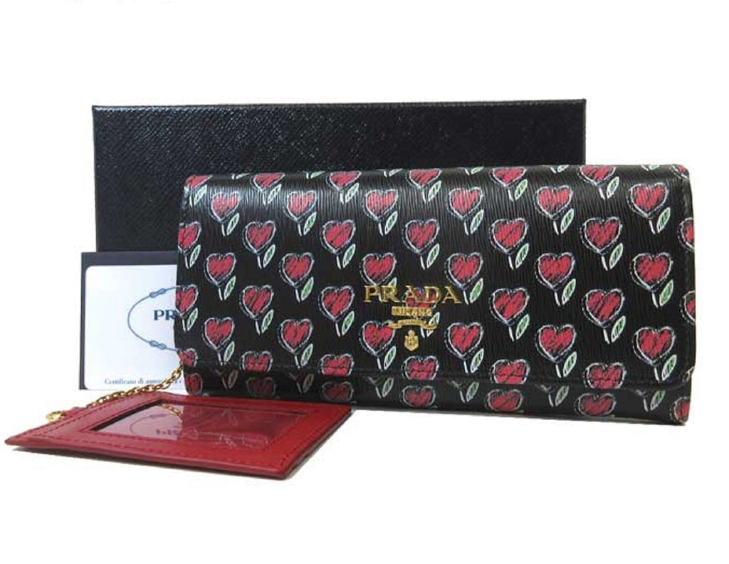 Prada Womens Black Love Hearts Vitello Move Leather Snap Long Wallet 1MH132