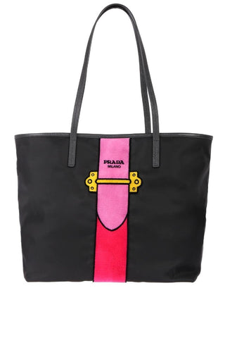 Prada Womens Black Tessuto Ricamo Shopping Tote Pink Velvet Accent 1BG065 at_Queen_Bee_of_Beverly_Hills
