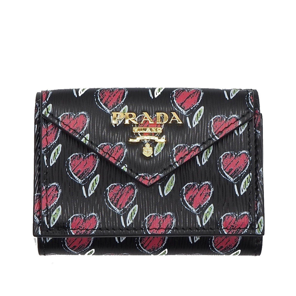 Prada Womens Black Vitello Move Love Hearts Leather Envelope Snap Wallet 1MH021 at_Queen_Bee_of_Beverly_Hills