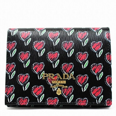 Prada Womens Black Vitello Move Love Hearts Leather Snap Bifold Wallet 1MV204 at_Queen_Bee_of_Beverly_Hills