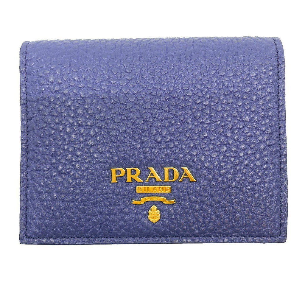 Prada Womens Blue Orange Vitello Daino Colour Pebbled Leather Bifold Wallet at_Queen_Bee_of_Beverly_Hills