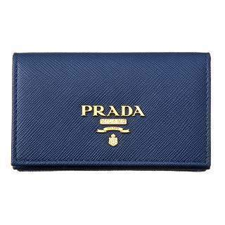 Prada Womens Blue Saffiano Leather Credit Card Holder 1MC122 at_Queen_Bee_of_Beverly_Hills