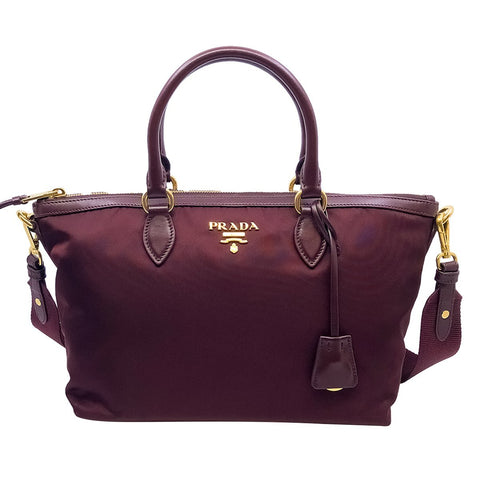 Prada Womens Burgundy Two Way Handbag Tessuto Nylon Leather Strap Bag 1BA104 at_Queen_Bee_of_Beverly_Hills