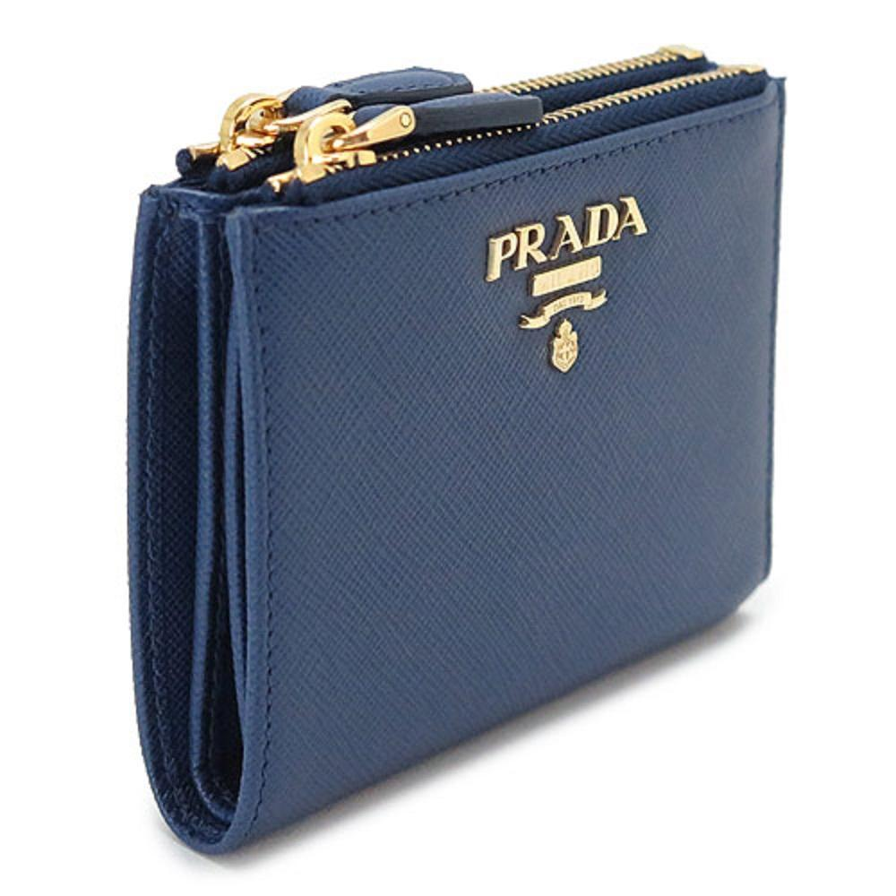 Prada Womens Dark Blue Vitello Move Leather Double Zipper Snap Wallet 1ML024 at_Queen_Bee_of_Beverly_Hills