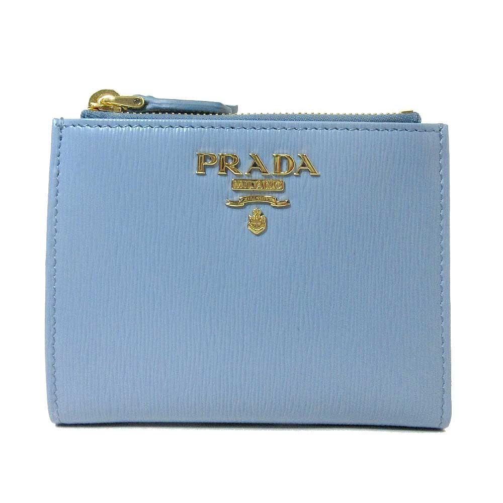 Prada Womens Light Blue Vitello Move Leather Astrale Double Zip Snap Wallet 1ML024 at_Queen_Bee_of_Beverly_Hills