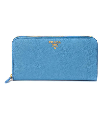 Prada Womens Mare Blue Saffiano Metal Logo Leather Long Zip Around Wallet 1ML506 at_Queen_Bee_of_Beverly_Hills