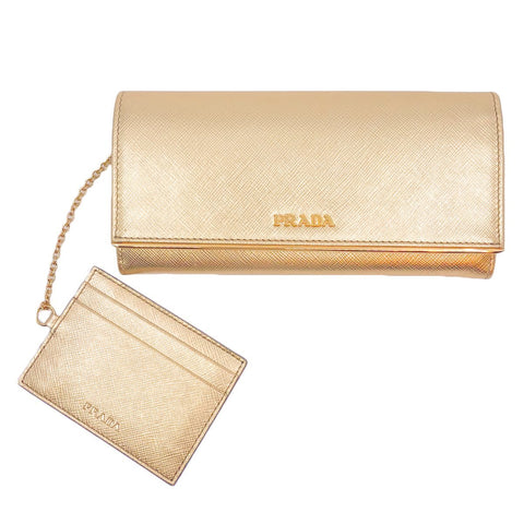 Prada Womens Metallic Gold Saffiano Metal Leather Long Double Snap Wallet 1MH132 at_Queen_Bee_of_Beverly_Hills