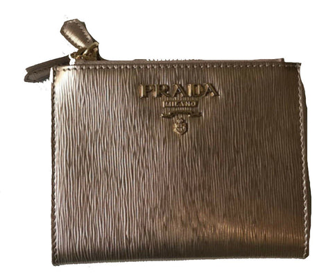 Prada Womens Metallic Rose Gold Zip Snap Vitello Move Leather Wallet 1ML024 at_Queen_Bee_of_Beverly_Hills