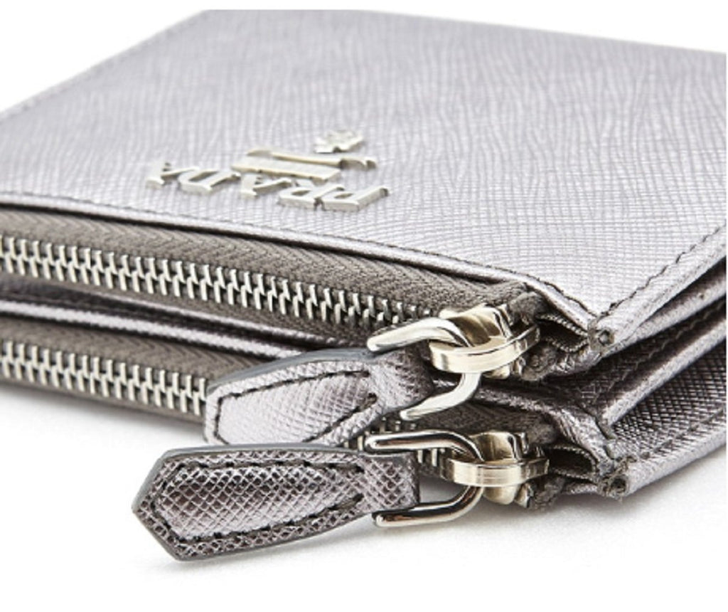 Prada Womens Metallic Silver Zip Snap Vitello Move Leather Wallet 1ML024 at_Queen_Bee_of_Beverly_Hills