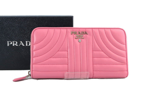 Prada Womens Pink Begonia Soft Quilted Calf Leather Pelle Tu Zipper Wallet 1ML506 at_Queen_Bee_of_Beverly_Hills